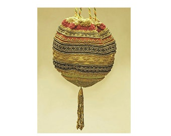Antique Steel Micro Beaded Purse /Reticule,Georgian, Late Regency,Early Victorian,Gold and Green, Circa 1830-1840