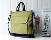 Last ONE Men - Project Messenger Bag in Olive Green - UNISEX BAG / Tote Bag / For her / For men / For women / For him / microscope