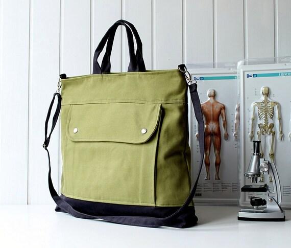 Last ONE Men - Project Messenger Bag in Olive Green - UNISEX BAG / Tote Bag / For her / For men / For women / For him / microscope