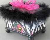 Floral Zebra Keepsake Box