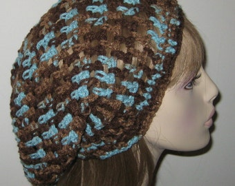 Slouchy Beanie Open Stitch Dread Tam in Earth and Sky