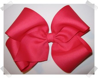X-Large KING Size Grosgrain Hair Bow in Shocking Pink