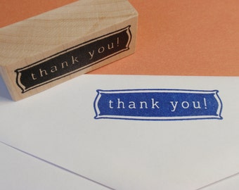 Thank You Rubber Stamp - Handmade by BlossomStamps