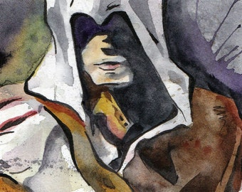 Assassin's Creed Ezio - Print of Watercolor and Ink Painting - Jen Tracy Illustration Reproduction - Renaissance Man