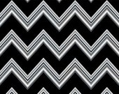 Quilting Treasures Fine Line Chevron - Black by Studio 8 Cotton Fabric 1 Yard