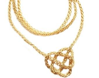 CELTIC Necklace Gold Knot Heart  , Wire Crochet Jewelry , Unique Handmade , Fashion Design , Celtic Jewelry