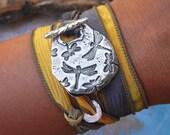 Dragonflies Jewelry, Dragonflies Bracelet, Dragonfly Jewelry, Dragonfly Bracelet, Sterling Silver Silk Wrap Bracelet