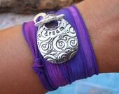 Teen Gift Jewelry, Teenager Silk Ribbon Wrap Bracelet, Dream, Teen Girl Gift Idea, STERLING SILVER Inspirational Jewelry, Teen Gift Under 50