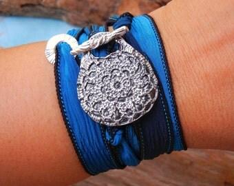 Silk Wrap Bracelet, Wrap Bracelet, Silk Ribbon Wrap Bracelet, Silver Wrap Bracelet, STERLING SILVER Silk Wrap Bracelet, Handmade Silk Wrap