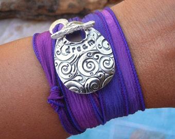 Yoga Jewelry, Yoga Silk Wrap Bracelet, Yoga Bracelet, Yoga Wrap Bracelet, DREAM Yoga Jewelry Gift, Yoga Fashion Wrap Bracelet, Yoga Wrap