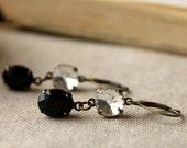 Jet Black and Crystal Earrings, Vintage Glass Earrings, Estate Style, Rhinestone, Black, Crystal Diamond