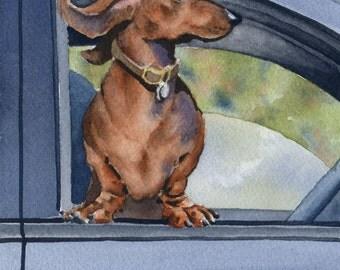"Dachshund Art Print ""Dachshund Car Ride"" Signed by Artist DJ Rogers"