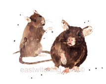RATS Art Print, rat paintings, rat art