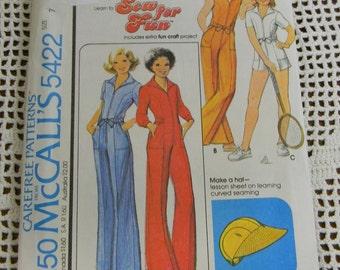 Vintage  McCall's Juniors Jumpsuit and Hat Pattern N5422, uncut Size 7