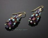 Sparkling Netted Crystal Earrings, Beadweaving, Plum Purple, Turquoise Blue