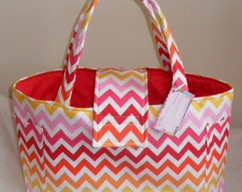 Large Kaufman Garden Remix Chevron Diaper Bag Tote CHOICE OF INTERIOR