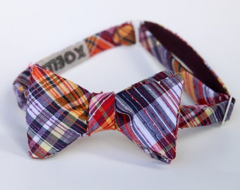 plum and mustard freestyle bow tie for men