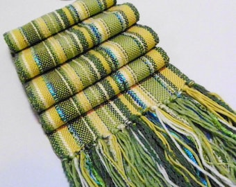 Handwoven Scarf - Spring through Fall Weight, Fresh Spring Green, Grass Green, Emerald Green, Yellow, Blue Striped Scarf by Frederick Avenue