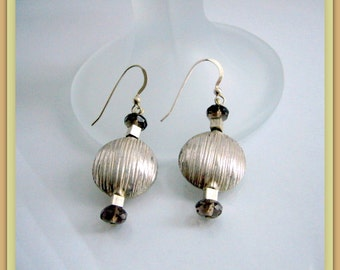 Earrings - Silver Coins - Smoky Quartz Rondells- Sterling silver - Gift for her