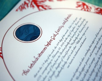 Coral Giclee Printed Marriage Certificate
