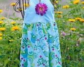 Little Girls Summer Halter Sundress BlueBird Cotton Print