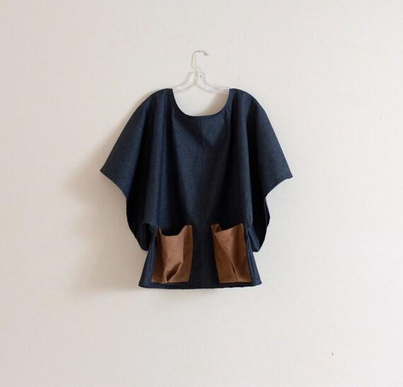 Kimono Sleeve Top With Linen Pockets