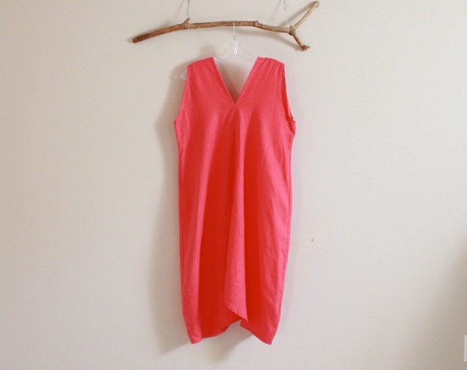 pink  linen sparrow dress ready to ship size M L