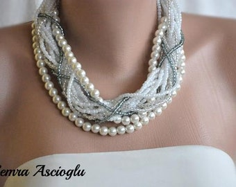 Chunky Layered Ivory Pearl Necklace brides bridesmaids gifts
