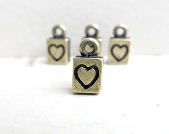 Brass Ox Charms, Solid Casting Heart Charms Pendants, 4pcs, Made in the USA
