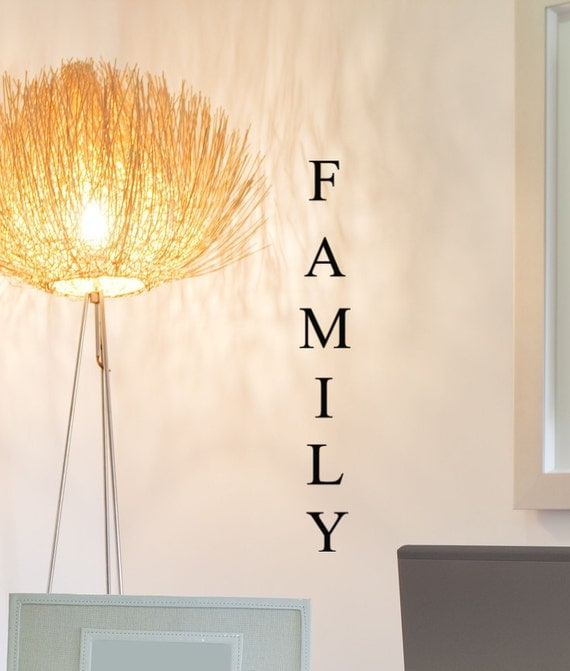 Family Decal decor vertical lettering word , decoration