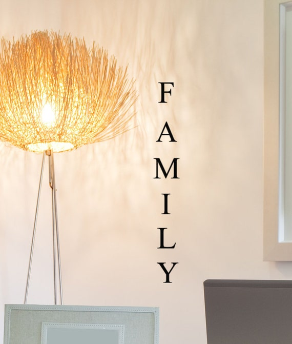 Family decal decor vertical lettering word decoration for Decoration word