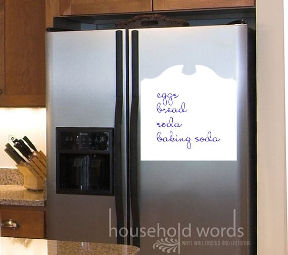 Decorative Dry Erase Decals for the kitchen fridge door, pantry cabinet, office or phone area