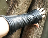 Black Leather Fingerless Riding Gloves Small with Padded Palms and White Stitching