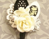 Cameo Rose Boutonniere, Vintage Inspired