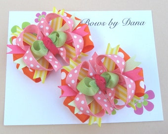 Set of 2 M2MG Tea Time Afternoon Toddler Hair Bows