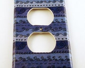 Light Switch Cover Switchplate Outlet in Funky Blue Waves  (093O)