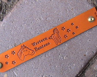 Personalized EQUINE Leather ID Wristband (with your horses name on it) 1.25 inch wide band