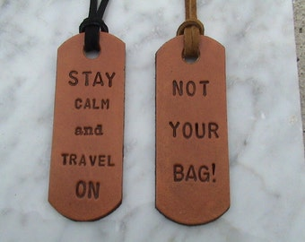 Personalized / Custom Leather Dog Tag Style - Luggage Tag