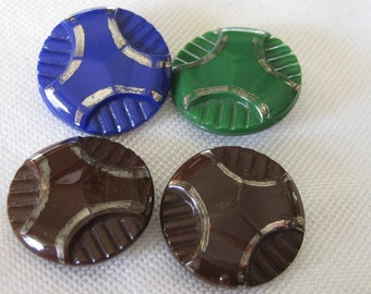 Set of 4 VINTAGE Glass Silver Trim  BUTTONS