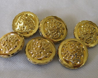 Set of 6 VINTAGE Gold Luster Glass BUTTONS