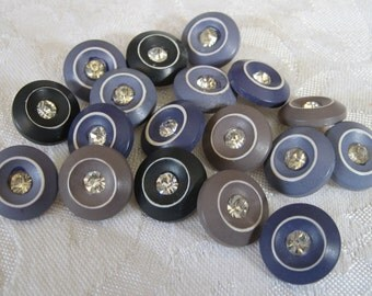 Set of 18 VINTAGE Rhinestone in Plastic BUTTONS