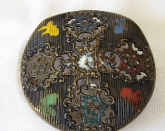 Large Antique Pierced Cross Metal with Paint Design BUTTON