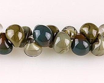 10 Handmade Teardrop Lampwork Glass 13 mm Boro Beads, Mix Series  Wren (22758).