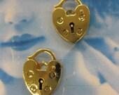 Gold Plated Brass Padlock Heart Charms 424GOL x2