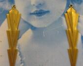 Natural Raw Brass Long Art Deco Brass Dangle Drop Stampings 492RAW  x2