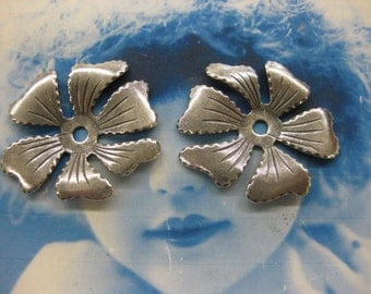 Vintage Silver Ox Plated Brass Flower Stampings 2193SOX x2