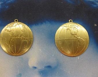 Natural Raw Brass World Globe Map Charms 551RAW x2