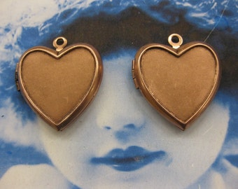 Copper Ox Plated Heart Shaped Photo Lockets 2235COP  x2