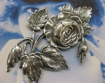 Silver Ox Plated Large Blooming Roses Stamping 170SOX  x1