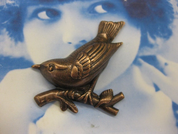 Bird on a Branch Brass Ox Plated With or Without Hole 662BOX x2